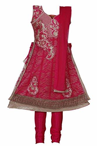 Trendy Salwar - Ashwini Girls Netted Embroidery Pink Salwar 2-3 Years