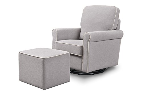 Image of the DaVinci Maya Swivel Glider with Ottoman, Grey with Cream Piping