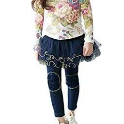 Winter Kids Girls Ruffle Leggings Gauze Culottes Tutu Skirt Clothes Pants 2-7Y 4-5Years Blue