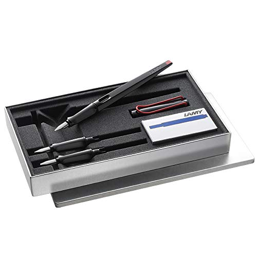 LAMY Joy Calligraphy Set 015 1315428 with Black and Red Fountain Pen, 5 Black LAMY T10 Ink Cartridges and 3 Nib Sizes - 1.1/1.5/1.9mm