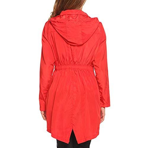 Rouge Capuche En Va couleur Air Manches Veste L Zffde Femmes Plein Randonnée Imperméable Taille Pluie Poche Longues Hiver À De XBwPqT