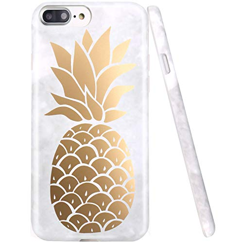 JAHOLAN iPhone 7 Plus Case iPhone 8 Plus Case Shiny Cute Gold Pineapple Marble Design Clear Bumper Matte TPU Soft Rubber Silicone Cover Phone Case for Apple iPhone 7 Plus/iPhone 8 Plus