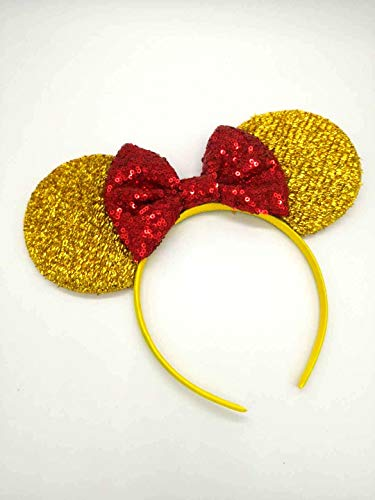 Beauty and the Beast Ears, Belle Ears, Belle Mickey Ears, Disney Inspired Beauty and the Beast Ears, Gold Minnie ears -