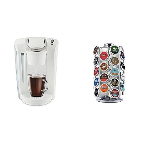 Keurig K-Select Coffee Maker, White and K-Cup Pod Carousel Coffee Machine Accessory, 36 Count, Chrome