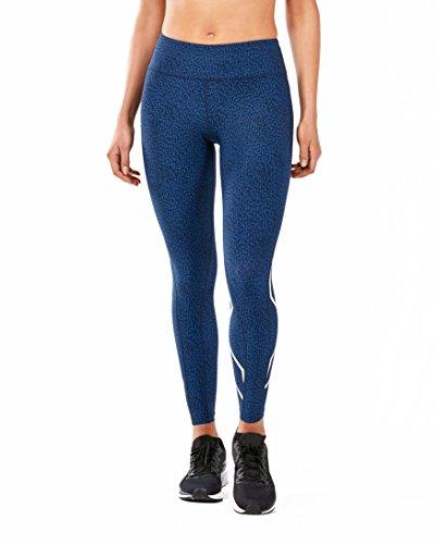 (2XU Women's Mid-Rise Print Compression Tights, Lapis Blue Broken Maze/White,)