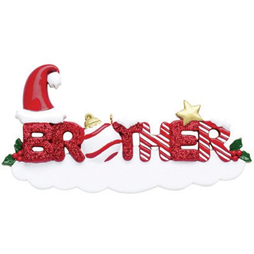 Personalized Big Brother Ornament (Personalized Brother Christmas Ornament for Tree 2018 - Snowy Glitter Word with Holly Santa Hat Strip Bauble - Worlds Greatest Bro Big Love Tradition Special Forever Memory - Free Customization)