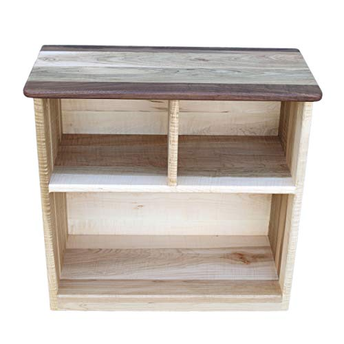 Camden Rose Simple Bookcase, Maple with Walnut Accents, Two Shelves