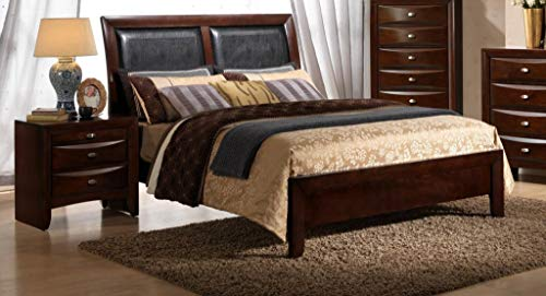 MYCO Furniture Emily Faux Leather Bed Merlot/Queen