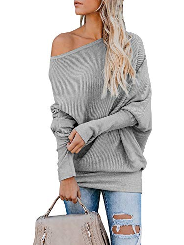 Pxmoda Womens Oversized Off Shoulder Pullover Sweater Batwing Sleeve Ribbed Knitted Jumper Tunic Tops Grey