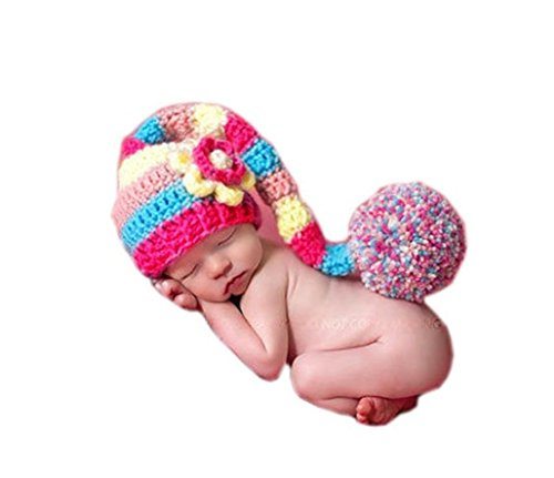 Ufraky Baby Photography Props Handmade Crochet Knitted Flower Long Tail Hat