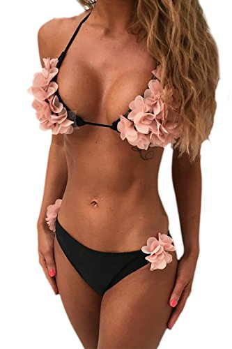 Halter costumi Black bagno due donna Bikini da fiori Set pezzi bagno costumi da 07qZr0