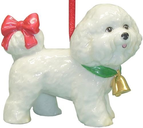Cute-Christmas-Holiday-Bichon-Dog-Ornament-Statue-Figurine-Decoration