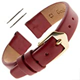 Gilden Ladies 12mm Classic Calfskin Fashion Color Flat Leather Watch Band F60