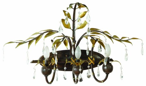 Yosemite Home Decor NPJ787 New Plantation Handmade Three Light Bath Vanity with Egyptian Crystals in Oxido Finish and Golden Leaves, 33