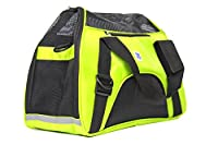 """IrisPets Pet Airline Travel Approved Airport Pet Carrier, Soft Sided Portable Folding Under Seat Air Travel Pet Carriers Bag for Dogs/Cats Small Animals - Medium (17""""L9""""W12""""H), Green"""