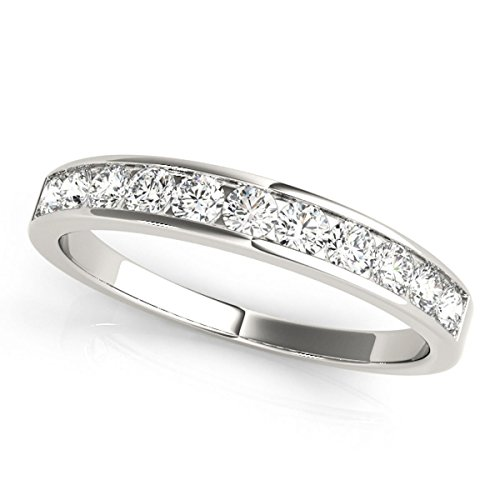 JewelMore 1/2ctw Diamond Channel Wedding Band in 10k White Gold (7)