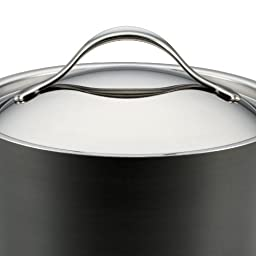 Anolon 83527  Nouvelle Copper Hard Anodized Nonstick Covered Straining Saucepan, 3.5-Quart