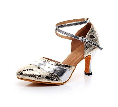 JSHOE Zapatos De Baile Con Hebilla Metálica Criss Cross Strap Para Mujer Salsa / Tango / Chacha / Samba / Modern / Jazz Shoes Sandalias Tacones Altos,A-heeled7.5cm-UK6/EU39/Our40