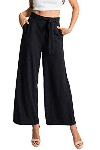 Cerniera Tempo Moda Larghi Waist Chiusura Primaverile Cintura Inclusa Donna Libero Pantalone High Monocromo Eleganti Pants Grazioso Casual Nero A Autunno Colpo Pantaloni YqaUnvHfw