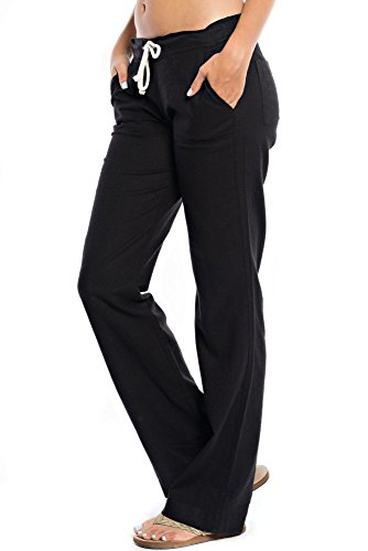 Womens Linen Drawstring Pants - 8