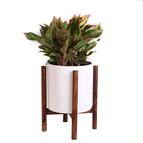 ASLINY Plant Stand Mid Century Wood Flower Pot Holder Display Potted Rack Rustic, up to 10 inches Planter Brown (Pot Not Included) by ASLINY
