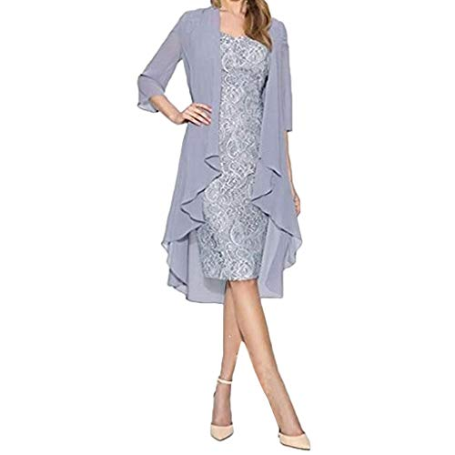 (yoyorule Casual Summer Dress Women Fashion European and American Two-Piece Chiffon Cardigan Lace Dress Silver)