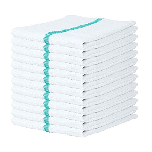 Arkwright Qwick WickTerry Bar Mop Towel Pack of 12, White with Green Stripes Kitchen Towels, Restaurant Cleaning Towels, Rags for Home, Kitchen, Bars (16 x 19 Inch)
