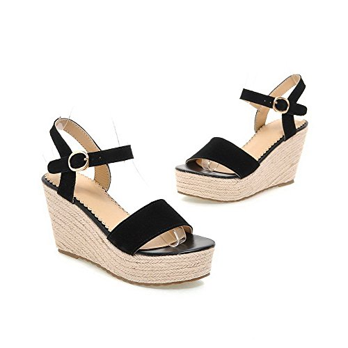 Heels Buckle Black Toe High Solid AgooLar Leather Nubuck Women's Open Sandals 5vwX1X