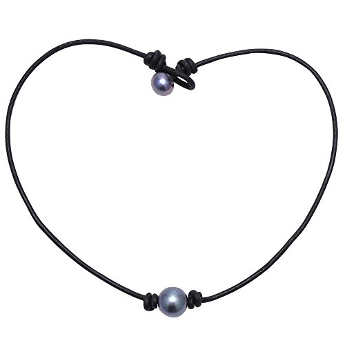Aobei One Dyed Black Freshwater Cultured Pearl Choker Leather Necklace on Genuine Leather Cord Handmade for Girls-18