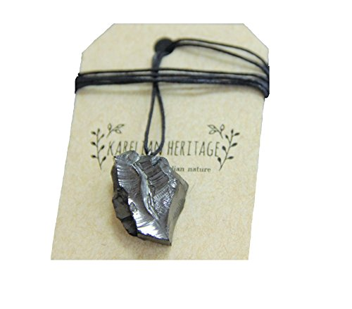 Black Chakra - Karelian Heritage Best Elite Shungite Crystal Pendant, Protective Root Chakra Jewelry for Men (Raw 5-9 Grams) PE24