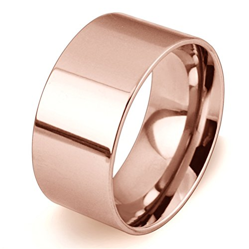 Men Women 10mm Wide Stainless Steel Ring Simple Style Rose Gold Big Band Polished Flat Top Comfort Fit Size 5