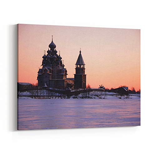 Rosenberry Rooms Canvas Wall Art Prints - View of Kizhi Island at The Sunset, Karelia Republic, Russia (36 x 24 inches)