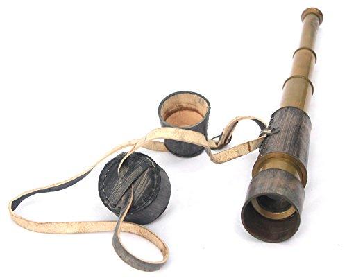 Decorative Antique Vintage Spyglass Telescope Leather Lens Cap Collectible Finish Royal Ship Sailor Marine Instrument (Gray)