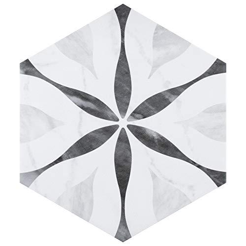8 Inch Floor Tile - SomerTile FEQ8BXF Murmur Bardiglio Hexagon Porcelain Floor and Wall Tile, 7