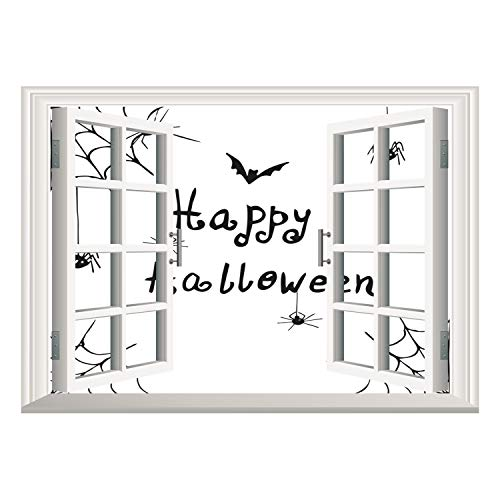 SCOCICI Peel and Stick Fabric Illusion 3D Wall Decal Photo Sticker/Spider Web,Happy Halloween Celebration Monochrome Hand Drawn Style Creepy Doodle Artwork,Black White/Wall Sticker Mural -