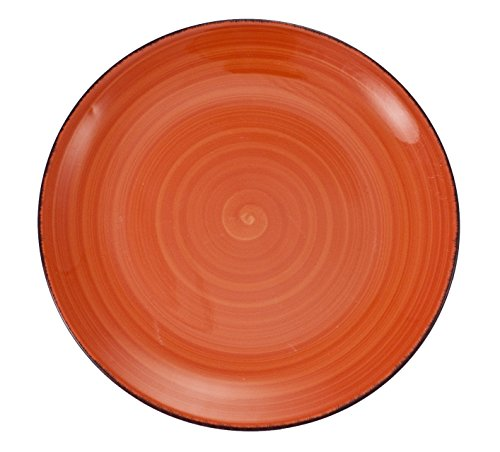 Villa D'Este 6 dinner plate Set Baita, hand-painted glazed stoneware, orange (Painted Hand Glazed)