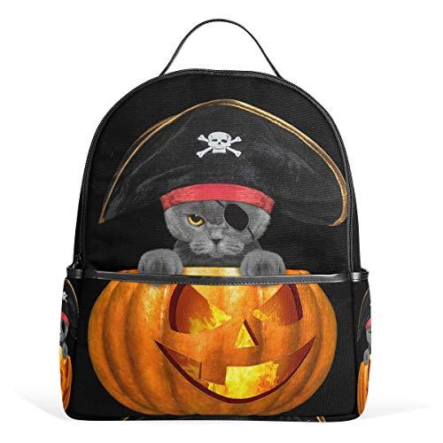 School Backpack Halloween Pirate Cat Travel Bag for Teenagers Boys Girls