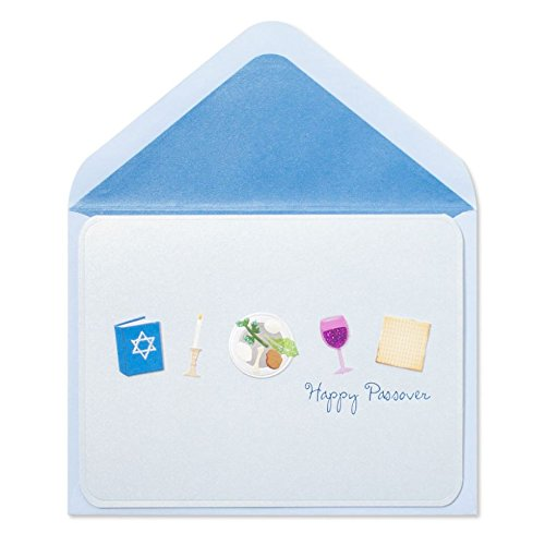 Papyrus Embellished Happy Passover Card - Handmade Passover Icons - Best Wishes for a Good Seder and Joyful Togetherness
