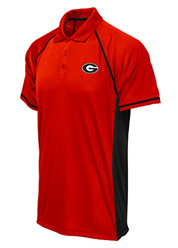 NCAA Georgia Bulldogs Poly Polo with Panels, Red Black, XX-Large (Bulldogs Golf Georgia)