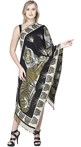 SKAVIJ Cashmere Head Scarf for Women Animal Print Shawl Wrap for Evening Dresses