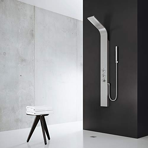 VIGO Sutherland Rain Waterfall Shower Panel with Jets and Hand Shower, Stainless Steel