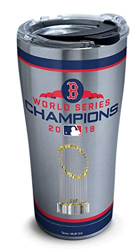 Tervis 1316167 MLB Boston Red Sox 2018 World Series Champions Insulated Tumbler with Clear and Black Hammer Lid, 20oz Stainless Steel, Silver
