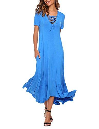 SE MIU Women's Casual Basic Stretch Jersey Comfy Maxi Beach Summer Dress