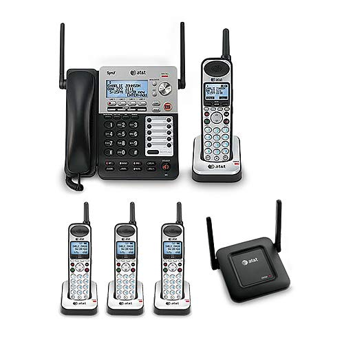 (AT&T SB67138 SynJ 4-Line Extendable Range Corded-Cordless Phone System with 4 Extra Handsets and DECT 6.0 Range Repeater)