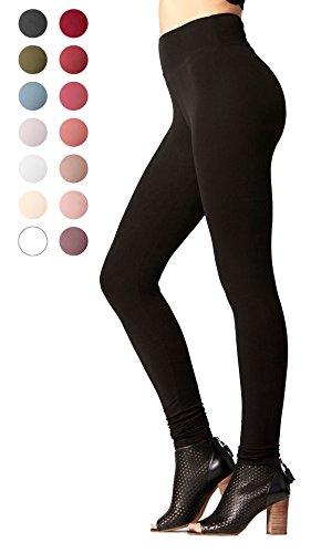 Leggings Fashion (Premium Ultra Soft High Waist Leggings for Women - Full Length Midnight Black - X-Small/Small / Medium)