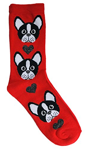 Bulldogs Heart (French Bulldog and Hearts Valentine's Day Novelty Crew Socks)