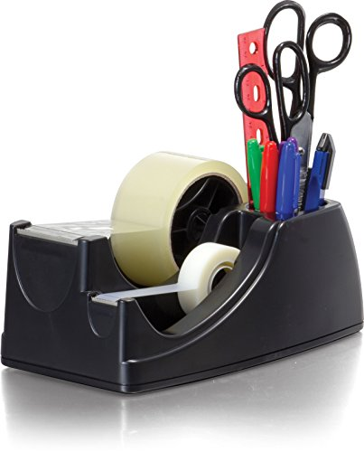 y Weighted 2-in-1 Tape Dispenser, Recycled,Black (96660) ()