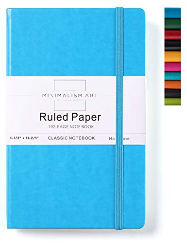 Minimalism Art, Classic Notebook Journal, A4 Size 8.3 X 11.4 inches, Blue, Ruled Lined Page, 192 Pages, Hard Cover, Fine PU Leather, Inner Pocket, Quality Paper-100gsm, Designed in San Francisco