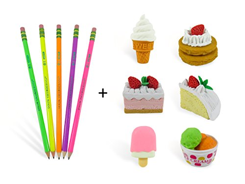 Popsicle Eraser - Dessert Mini Puzzle Erasers (7) Popsicle, Cakes, Ice Cream Cone and Cup, Pancakes, Tray and (5) Colorful Neon #2 Sharpened Pencils (12 Piece Set)