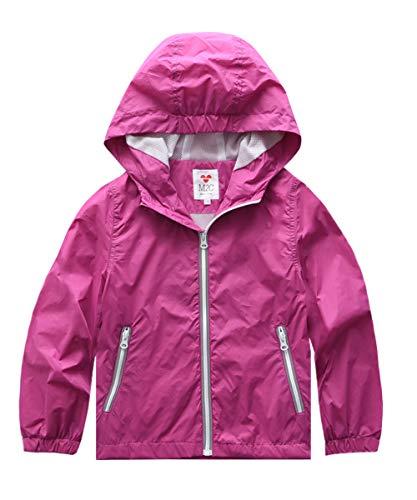 - M2C Girls Lightweight Windproof Coat Hooded Water Resistant Jacket 8/9 Hot Pink